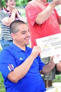 Frank Perez and his pie eating contest certificate